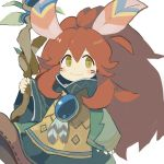 1other androgynous bangs blush_stickers brown_eyes brown_footwear brown_hair closed_mouth commentary_request eyebrows_behind_hair facial_mark feathers green_robe hair_between_eyes hair_feathers highres holding holding_staff long_hair long_sleeves looking_at_viewer paprika_shikiso popoi robe seiken_densetsu seiken_densetsu_2 shoe_soles shoes simple_background smile solo staff very_long_hair white_background wide_sleeves