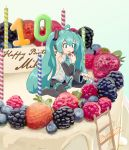 1girl absurdres anniversary aqua_eyes aqua_hair aqua_neckwear black_skirt blueberry cake candle detached_sleeves eating food fork fruit hair_between_eyes happy_birthday hatsune_miku highres kinosuke_(pattaba) ladder long_hair minigirl necktie pleated_skirt raspberry signature sitting skirt smile solo strawberry twintails very_long_hair vocaloid wariza