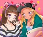 2girls :p amamiya_erena amanogawa_kirara animal_ears bangs baseball_cap black_hat black_shirt blonde_hair blurry blurry_foreground breasts brown_hair cellphone chest_tattoo cleavage closed_mouth collarbone commentary_request dark_skin depth_of_field ear_piercing earrings eyebrows_visible_through_hair fake_animal_ears go!_princess_precure green_hoodie hairband hand_up hat heart holding holding_phone hood hoodie hoop_earrings jewelry long_hair long_sleeves looking_at_viewer medium_breasts mole mole_under_eye multiple_girls nail_polish necklace open_clothes open_hoodie phone piercing pink_background precure purple_hairband red_nails rudo_(rudorudo0917) self_shot shiny shiny_hair shirt sidelocks sleeves_past_wrists smartphone smile star star_twinkle_precure striped striped_shirt tattoo tongue tongue_out upper_body v violet_eyes whisker_markings white_shirt