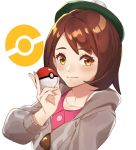 1girl bangs beret blush brown_eyes brown_hair closed_mouth creatures_(company) female_protagonist_(pokemon_swsh) game_freak green_hat grey_coat hat holding holding_poke_ball kamu_(kamuuei) long_hair looking_at_viewer nintendo poke_ball pokemon pokemon_(game) pokemon_swsh simple_background smile solo