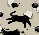 avogado6 black_cat cat coffee commentary_request cup from_above full_body grey_background kitten lying monochrome no_humans on_side original simple_background spill