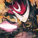 1girl 2boys battle bound claws cloak cracked_mask glowing glowing_eyes glowing_weapon grey_cloak highres hollow_knight hollow_knight_(character) hornet_(hollow_knight) horns jun_(seojh1029) knight_(hollow_knight) light_particles looking_at_another mask multiple_boys nail red_cloak rock string sword weapon