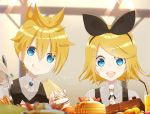 1boy 2girls bangs black_bow blonde_hair blue_eyes bow cake character_name commentary food fork fruit hair_bow hair_ornament hairclip hatsune_miku highres holding holding_food holding_fork kagamine_len kagamine_rin macaron multiple_girls nail_polish pancake sake-meron short_hair smile strawberry tongue tongue_out vest vocaloid whipped_cream