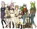 animal_ears antennae belt black_hair blue_eyes boots bow brown_hair bunny_ears casual clothes_writing contemporary everyone ex-keine ex_keine exkeine fang fujiwara_no_mokou gloves green_eyes green_hair hair_bow hal_(artist) hat horns houraisan_kaguya inaba_tewi jeans jewelry kamishirasawa_keine kneehighs lowres multiple_girls mystia_lorelei necklace pants pink_eyes pink_hair purple_hair red_eyes reisen_udongein_inaba scarf shorts silver_hair simple_background skirt socks suspenders t-shirt thighhighs touhou wriggle_nightbug yagokoro_eirin