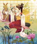 bird bird_on_hand birds brown_hair crane crane_(animal) dragonfly fan fish flower hair_ornament japanese_clothes katana lily_pad llama long_hair mouth_hold nauribon original profile seiza sitting sparrow surreal sword weapon