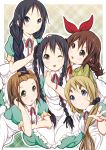 5girls akiyama_mio alternate_hairstyle black_eyes black_hair blonde_hair blue_eyes braid brown_eyes brown_hair dress highres hirasawa_yui k-on! kotobuki_tsumugi long_hair multiple_girls nakano_azusa short_hair tainaka_ritsu twin_braids yuuzaki_takumi