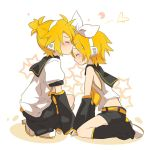 blonde_hair blush brother_and_sister closed_eyes detached_sleeves forehead_kiss hair_ribbon headphones ixy kagamine_len kagamine_rin kiss leg_warmers midriff ponytail ribbon school_uniform short_hair shorts siblings sleeveless smile star twins vocaloid