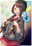 1girl animal animal_on_shoulder backpack bag beret blush brown_eyes brown_hair commentary creatures_(company) dated dress e-co female_protagonist_(pokemon_swsh) game_freak hat hood hooded_sweater looking_back nintendo pokemon pokemon_(creature) pokemon_(game) pokemon_on_shoulder pokemon_swsh smile sobble sweater