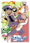 2boys absurdres ball baseball_cap belt buckle bulbasaur charmander checkered checkered_background commentary creatures_(company) emcee english_commentary english_text fangs fiery_tail fire flame full_body game_freak gen_1_pokemon hat highres holding holding_ball holding_poke_ball jewelry long_sleeves looking_at_viewer male_focus multiple_boys multiple_monochrome nintendo ookido_green pants parody pendant pikachu poke_ball poke_ball_(generic) pokemon pokemon_trainer red_(pokemon) shoes short_sleeves signature spiky_hair squirtle style_parody tail