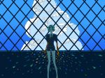 1other androgynous backlighting black_neckwear black_shorts blue_sky clouds cloudy_sky crystal_hair feet_out_of_frame gem_uniform_(houseki_no_kuni) golden_arms green_hair highres houseki_no_kuni looking_at_viewer necktie phosphophyllite puffy_short_sleeves puffy_sleeves sasakisasa27 short_hair short_shorts short_sleeves shorts sky solo sparkle wide_shot