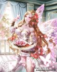 1girl balcony bare_shoulders breasts brown_hair company_name cup curtains day detached_collar detached_sleeves dress flower food hair_flower hair_ornament heart holding holding_tray indoors large_breasts long_hair looking_at_viewer nabe_(crow's_head) open_mouth pink_eyes railing red_flower saucer solo standing teacup teapot tray valentine very_long_hair white_dress wings