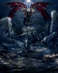 anonamos character_request crossover destruction dragon gen_lock glowing glowing_eye glowing_eyes grimm highres holon_(gen_lock) mecha mechanical monster moon multiple_heads multiple_wings night night_sky red_eyes robot rwby sky wings