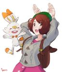 1girl animal_ears bag blush brown_eyes brown_hair bunny_pose creature creatures_(company) female_protagonist_(pokemon_swsh) game_freak gen_8_pokemon green_hat happy hat highres ippers looking_at_viewer nintendo open_mouth pokemon pokemon_(creature) pokemon_(game) pokemon_swsh rabbit rabbit_ears scorbunny short_hair simple_background smile tam_o'_shanter white_background