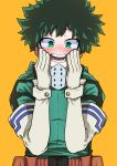 1girl absurdres belt blush bodysuit boku_no_hero_academia brown_belt commentary_request dot_nose elbow_gloves eyebrows_visible_through_hair face_mask freckles gloves green_bodysuit green_eyes green_hair hands_on_own_cheeks hands_on_own_face happy highres jipponwazaari looking_at_viewer mask midoriya_izuku open_mouth orange_background short_hair simple_background solo toga_himiko transformation upper_body white_gloves