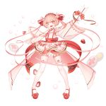 1girl absurdres arrow bangs bow bunny_hair_ornament dress eyebrows_visible_through_hair food food_fantasy frills fruit full_body hair_bow hair_ornament hair_ribbon hand_up highres ichigo_daifuku ichigo_daifuku_(food_fantasy) long_sleeves open_mouth pink_hair red_bow red_eyes red_footwear ribbon shoes simple_background sleeves_past_wrists smile solo standing strawberry symbol-shaped_pupils thigh-highs wagashi white_background white_dress white_legwear wide_sleeves zelato