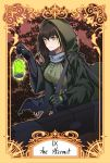 1girl absurdres black_hair cloak english_text girls_frontline gloves highres hood hooded_cloak lamp m4a1_(girls_frontline) mod3_(girls_frontline) roman_numerals solo stigmamyu tarot the_hermit_(tarot_card) yellow_eyes