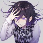 1boy black_hair blush checkered checkered_scarf danganronpa eyebrows_visible_through_hair face floating_hair grey_background hair_between_eyes hand_in_hair hat highres jacket long_sleeves looking_at_viewer male_focus nanin new_danganronpa_v3 ouma_kokichi peaked_cap purple_hair scarf short_hair simple_background solo straitjacket teardrop tears violet_eyes white_jacket