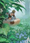 1girl ahoge andira_(granblue_fantasy) animal animal_on_head back_bow bare_shoulders beads bird_nest blonde_hair blue_flower bow bush detached_sleeves flower frog from_side fur-trimmed_sleeves fur_trim granblue_fantasy hair_beads hair_ornament leaf leaning_forward leotard long_sleeves minigirl monkey_tail nature obi on_head one_side_up outdoors profile rain red_eyes sash short_hair sitting solo tail thigh-highs tree wasabi60 water white_flower white_legwear white_leotard wide_sleeves