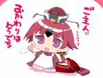 1girl apron benienma_(fate/grand_order) bird_hat blush_stickers chibi comic commentary_request fate/grand_order fate_(series) hat kneeling long_sleeves looking_at_viewer open_mouth ponytail redhead rice_spoon sako_(bosscoffee) short_hair smile solo translation_request violet_eyes white_background wide_sleeves