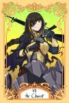 1girl absurdres armor assault_rifle black_hair english_text eyepatch girls_frontline gloves gun highres long_braid m16 m16a1_(girls_frontline) rifle roman_numerals scar scar_across_eye solo stigmamyu tarot the_chariot weapon