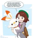 1girl animal_ears blush brooklyn_nine-nine brown_eyes brown_hair creatures_(company) english_text female_protagonist_(pokemon_swsh) game_freak gen_8_pokemon green_hat hat highres hug i've_only_had_arlo_for_a_day_and_a_half nintendo open_mouth pixelpulp pokemon pokemon_(creature) pokemon_(game) pokemon_swsh rabbit rabbit_ears scorbunny short_hair simple_background smile tam_o'_shanter tumblr_username white_background
