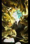 1other absurdres androgynous aqua_eyes aqua_hair crystal_hair gem_uniform_(houseki_no_kuni) gold highres houseki_no_kuni looking_up necktie phosphophyllite short_hair smile solo