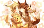 1boy 1girl blonde_hair blush breasts brown_hair closed_mouth creature creature_and_personification creatures_(company) eevee eevee_ears elbow_gloves frown game_freak gen_1_pokemon gloves holding holding_pokemon medium_breasts nintendo personification pikachu pikachu_ears plaid plaid_skirt pokemon pokemon_(creature) pokemon_ears pokemon_on_shoulder skirt sleeveless smile star starry_background urusai-baka yellow_eyes