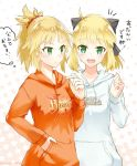 2girls :d ahoge artoria_pendragon_(all) black_bow blonde_hair bow eyebrows_visible_through_hair fate_(series) green_eyes hair_bow hair_ornament hair_scrunchie hand_in_pocket high_ponytail hood hood_down hooded_sweater long_hair looking_at_viewer mordred_(fate) mordred_(fate)_(all) multiple_girls open_mouth orange_sweater print_sweater red_scrunchie saber_lily scrunchie shiny shiny_hair smile standing sweater touru_10ru twitter_username upper_body white_sweater