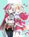2girls animal_ears belt black_hair blonde_hair brown_gloves brown_hair cloak fingerless_gloves fire_emblem fire_emblem_if fox_ears fox_tail gloves grey_hair hair_ornament hood hood_up hooded_cloak japanese_clothes kinu_(fire_emblem_if) long_sleeves multicolored_hair multiple_girls nintendo open_mouth pants parted_lips pouch red_eyes short_hair simple_background streaked_hair tail twitter_username velour_(fire_emblem_if) white_gloves wolf_ears wolf_tail yellow_eyes yuyu_(spika)
