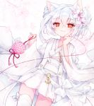 1girl animal_ear_fluff animal_ears azur_lane bangs cat_ears closed_mouth commentary_request dutch_angle eyebrows_visible_through_hair fingernails flower hair_between_eyes hair_flower hair_ornament hands_up highres holding japanese_clothes kimono kimono_skirt long_hair long_sleeves looking_at_viewer obi pink_flower red_eyes red_string sash shichijou_natori short_kimono silver_hair sleeves_past_wrists smile solo string string_around_finger white_flower white_kimono wide_sleeves yukikaze_(azur_lane)