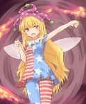 1girl american_flag_dress american_flag_legwear arm_up blonde_hair blue_dress blue_legwear blush brown_eyes clenched_hand clownpiece commentary_request cowboy_shot dress fairy_wings hand_up hat holding holding_torch jester_cap long_hair miyo_(ranthath) neck_ruff open_mouth pantyhose polka_dot polka_dot_hat purple_background purple_hat red_dress red_legwear short_dress short_sleeves solo standing star star_print striped striped_dress striped_legwear thighs torch touhou very_long_hair white_dress white_legwear wings