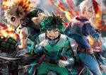 2019 3boys bakugou_katsuki bangs bare_shoulders black_pants black_shirt blue_jacket blue_pants blurry blurry_background bodysuit boku_no_hero_academia clenched_hands clenched_teeth commentary depth_of_field electricity eyebrows_visible_through_hair fire gloves glowing glowing_eyes green_bodysuit green_eyes green_hair grey_eyes grin ice jacket light_brown_hair long_sleeves looking_at_viewer male_focus midoriya_izuku multicolored_hair multiple_boys open_mouth pants profile red_eyes redhead shirt sleeveless sleeveless_shirt sleeves_folded_up smile standing sunako_(veera) teeth todoroki_shouto twitter_username two-tone_hair v-shaped_eyebrows white_gloves white_hair