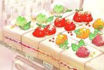 bird chai commentary_request cream dessert food fruit fruit_tart grapes highres leaf looking_at_viewer melon multiple_others no_humans orange original raspberry sitting_on_food strawberry strawberry_shortcake tart_(food) translation_request