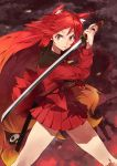 1girl animal_ear_fluff animal_ears bare_legs closed_mouth gradient_hair highres holding holding_sword holding_weapon legs_apart long_eyebrows long_sleeves looking_at_viewer multicolored_hair original red redhead serious solo standing sword third-party_source v-shaped_eyebrows weapon