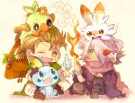 alfyn_(octopath_traveler) blonde_hair blush bracelet brown_eyes chibi cloak creature creatures_(company) game_freak gen_8_pokemon gloves grookey hair_over_one_eye hairband happy highres jewelry long_hair nintendo octopath_traveler one_eye_closed open_mouth pokemon pokemon_(creature) pokemon_(game) pokemon_swsh pomme_oct ponytail scarf scorbunny short_hair simple_background smile sobble super_smash_bros. super_smash_bros._ultimate therion_(octopath_traveler) white_hair