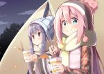 2girls :t bangs beanie blue_eyes blue_hair blue_hat blush brown_scarf chopsticks closed_mouth clouds commentary_request down_vest eating eyebrows_visible_through_hair fingernails grey_eyes hair_between_eyes hat holding holding_chopsticks jacket kagamihara_nadeshiko long_hair long_sleeves multiple_girls night night_sky ominaeshi_(takenoko) outdoors pink_hair plaid_jacket ramen red_jacket scarf shima_rin sidelocks sky sleeves_past_wrists smile striped tent vertical-striped_scarf vertical_stripes very_long_hair vest white_vest yurucamp