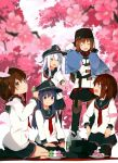 5girls absurdres akatsuki_(kantai_collection) anchor_necklace anchor_symbol badge belt black_belt black_bow black_eyes black_footwear black_hat black_legwear black_skirt blue_eyes blue_hair blue_shawl bow brown_eyes brown_hair brown_legwear cherry_blossoms dango empty_eyes fang flat_cap folded_ponytail food grey_eyes hair_bow hair_ornament hairclip hat hibiki_(kantai_collection) highres ikazuchi_(kantai_collection) inazuma_(kantai_collection) jacket kantai_collection light_blue_hair long_hair low_twintails medium_hair multiple_girls neckerchief official_art pantyhose papakha pleated_skirt red_neckwear red_shirt ribbon_trim scarf school_uniform serafuku shawl shirt short_hair skirt star tashkent_(kantai_collection) thigh-highs torn_scarf twintails wagashi white_jacket white_scarf yadokari_(migihashi)