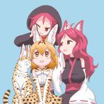 3girls ahoge animal_ear_fluff animal_ears bangs black_hoodie blonde_hair blush bow bowtie breasts brown_eyes cat_ears closed_eyes commentary_request detached_sleeves director_connection elbow_gloves extra_ears eyebrows_visible_through_hair gloves hood hood_up hoodie japanese_clothes kemono_friends kemurikusa long_hair multiple_girls open_mouth print_gloves print_neckwear print_skirt red_eyes redhead ribbon-trimmed_sleeves ribbon_trim riku_(kemurikusa) ritsu_(kemurikusa) serval serval_(kemono_friends) serval_ears serval_print shirt short_hair skirt sleeveless sleeveless_shirt sleeves_past_fingers sleeves_past_wrists smile underskirt waist_bow wide_sleeves zashikiwasabi