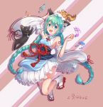 1girl :d absurdres animal_ears arm_up blue_eyes blue_hair blush braid breasts cat cat_ears detached_sleeves eyebrows_visible_through_hair floating_hair frilled_skirt frills full_body hair_between_eyes hand_on_head hat hatsune_miku hatsune_speed:_hatsune_miku_roller_skating_music highres hiroshi_taeru_qwq japanese_clothes kimono legs_up long_hair long_sleeves musical_note open_mouth red_ribbon ribbon ribbon-trimmed_sleeves ribbon_trim shiny shiny_hair sideboob skirt sleeveless sleeveless_kimono small_breasts smile solo twin_braids twintails very_long_hair vocaloid white_hat white_legwear white_skirt white_sleeves wide_sleeves