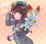 1girl bangs brown_eyes brown_hair creatures_(company) fare female_protagonist_(pokemon_swsh) game_freak gen_8_pokemon green_hat hat holding holding_poke_ball looking_at_viewer nintendo open_mouth personification poke_ball pokemon pokemon_(creature) pokemon_(game) pokemon_swsh scorbunny shirt short_hair simple_background smile solo tam_o'_shanter