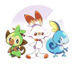 animal_ears artsy-rc bandaid blush brown_eyes creatures_(company) full_body game_freak gen_8_pokemon grookey highres lizard looking_at_viewer monkey nintendo no_humans open_mouth pokemon pokemon_(creature) pokemon_(game) rabbit rabbit_ears red_eyes scorbunny simple_background smile sobble stick tail water white_background wood