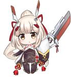 1girl :o ayanami_(azur_lane) azur_lane bailingxiao_jiu black_footwear blush brown_dress brown_eyes brown_gloves brown_legwear chibi covered_navel detached_sleeves dress fingerless_gloves full_body gloves hair_ornament hair_ribbon hairclip headgear high_ponytail holding holding_sword holding_weapon light_brown_hair long_hair long_sleeves looking_at_viewer parted_lips ponytail red_ribbon ribbon sidelocks simple_background single_detached_sleeve sleeveless sleeveless_dress sleeves_past_wrists solo standing sword thigh-highs very_long_hair weapon white_background white_sleeves wide_sleeves