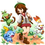 1girl backpack bag brown_eyes brown_hair cardigan creatures_(company) female_protagonist_(pokemon_swsh) game_freak gen_8_pokemon grookey medium_hair nintendo open_mouth outdoors pixel_art pixelflag pokemon pokemon_(game) pokemon_swsh scorbunny sobble socks standing tam_o'_shanter