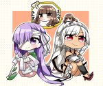 3girls absurdres altera_(fate) bandage bandage_over_one_eye bandaged_arm bandaged_leg bandages bangs bare_shoulders barefoot black_legwear blue_shirt blunt_bangs blush brown_background brown_eyes brown_hair chibi chibi_on_head closed_mouth commentary_request dark_skin detached_sleeves eyebrows_visible_through_hair fate/extra fate/grand_order fate_(series) highres jako_(jakoo21) kingprotea kishinami_hakuno_(female) long_hair long_sleeves minigirl moss multiple_girls on_head polka_dot polka_dot_background purple_hair red_eyes red_footwear shirt shoes sitting translation_request two-tone_background v-shaped_eyebrows very_long_hair violet_eyes white_background white_hair white_sleeves