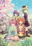 4girls :d ;) apron bangs bell black_hairband black_skirt blue_eyes blue_flower blue_shirt blue_sky blue_vest boots brown_footwear checkered checkered_kimono cherry_blossoms commentary_request culter day epaulettes eyebrows_visible_through_hair finger_to_mouth flower food frilled_hat frilled_shirt_collar frilled_sleeves frills green_eyes green_hair green_kimono green_skirt hair_bell hair_between_eyes hair_flower hair_intakes hair_ornament hairband hakama hand_up hands_up hat hat_ribbon heart heart_hair_ornament hieda_no_akyuu high_heel_boots high_heels highres holding holding_food japanese_clothes jingle_bell juliet_sleeves kimono komeiji_satori long_sleeves looking_at_viewer miniskirt motoori_kosuzu multiple_girls off_shoulder one_eye_closed open_mouth orange_hair outdoors petticoat pink_eyes pink_hair pink_skirt puffy_sleeves purple_hair red_hakama red_kimono red_ribbon ribbon ribbon-trimmed_collar ribbon_trim rod_of_remorse shiki_eiki shirt short_hair sitting skirt sky smile standing sweat third_eye touhou vest white_flower white_kimono white_ribbon white_shirt wide_sleeves yellow_apron yellow_kimono