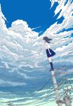 1girl black_hair blue_legwear blue_sailor_collar blue_skirt blue_sky clouds cloudy_sky commentary_request facing_away from_below highres kneehighs on_top_of_pole original outstretched_arm pleated_skirt pointing pointing_up sailor_collar scenery school_uniform serafuku seraphitalg shirt skirt sky solo standing telephone_pole white_shirt wide_shot wind