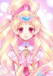 1girl artist_name blonde_hair bridal_gauntlets cure_tomorrow earrings enishi_(menkura-rin10) floating_hair hair_ornament hair_rollers hands_clasped hands_together heart heart_earrings heart_hair_ornament high_ponytail highres hug-tan_(precure) hugtto!_precure jewelry long_hair looking_at_viewer own_hands_together pink_eyes precure short_sleeves smile solo upper_body very_long_hair