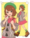 1girl backpack bag bangs blush brown_eyes brown_hair creatures_(company) female_protagonist_(pokemon_swsh) game_freak green_hat hat highres jivke looking_at_viewer nintendo open_mouth pokemon pokemon_(game) pokemon_swsh shirt short_hair simple_background smile solo tam_o'_shanter