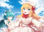 2girls :d blonde_hair blue_dress blue_eyes blue_hair blue_sky blush bow bowtie bruise bruise_on_face capelet cirno clouds crossed_bandaids day dress folded_leg frown hair_between_eyes hair_bow hat highres injury lily_white long_hair looking_at_viewer multiple_girls open_mouth outdoors outstretched_arms petals pinafore_dress red_bow red_neckwear red_ribbon ribbon shirt short_hair short_sleeves sky sleeves_past_wrists smile spread_arms touhou upper_body useq1067 very_long_hair white_capelet white_dress white_shirt wings