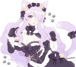 1girl alternate_costume animal_ears black_gloves bow breasts camilla_(fire_emblem_if) cat_ears cat_tail cleavage dress fire_emblem fire_emblem_if flower gloves hair_flower hair_ornament hair_over_one_eye large_breasts long_hair long_sleeves nintendo open_mouth plushcharm purple_hair simple_background solo tail twitter_username upper_body violet_eyes white_background